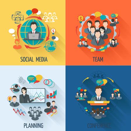 Ilustración de Meeting icon flat set with social media team planning conference isolated illustration - Imagen libre de derechos