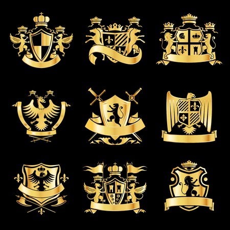Illustration for Heraldic royal art symbols decorative emblems golden set with griffin swords and ribbons isolated illustration - Royalty Free Image