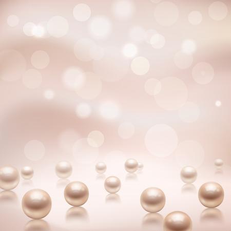 Ilustración de Luxury beautiful shining jewellery background with rose pearls illustration - Imagen libre de derechos
