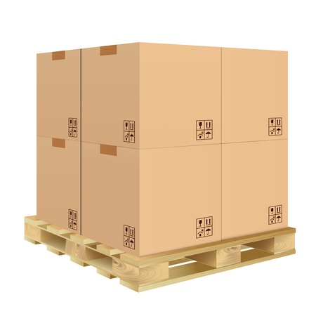 Illustration pour Brown closed carton delivery packaging box with fragile signs on wooden pallet isolated on white background illustration. - image libre de droit