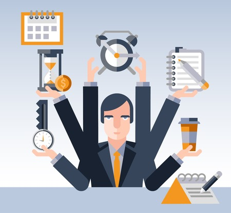 Illustration pour Time management concept with multitasking businessman with many hands and successful planning elements illustration - image libre de droit