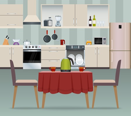 Illustration pour Kitchen interior modern home food cooking and dining room realistic poster vector illustration - image libre de droit