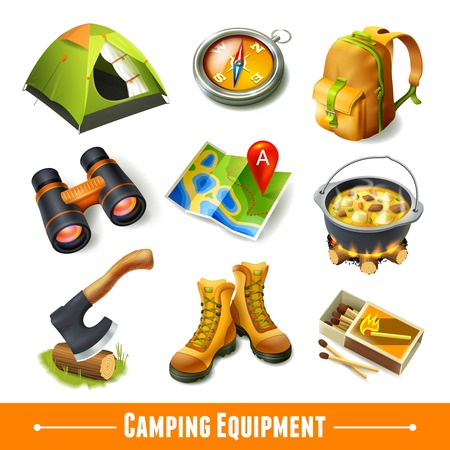 Illustration pour Camping summer outdoor activity equipment decorative icons set isolated vector illustration. - image libre de droit