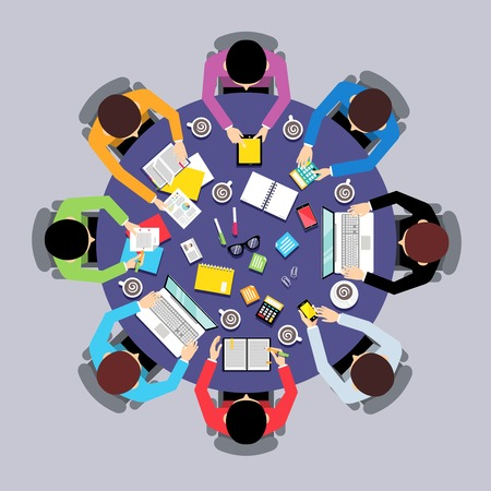 Illustration pour Business team brainstorming teamwork concept top view group people on round table vector illustration - image libre de droit