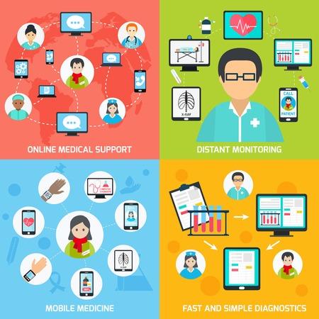 Illustration pour Mobile health online medical support distant monitoring flat set isolated vector illustration - image libre de droit
