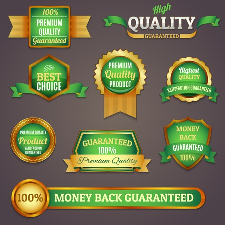 Illustration pour Luxury colored golden and green premium quality products best choice labels set isolated vector illustration - image libre de droit