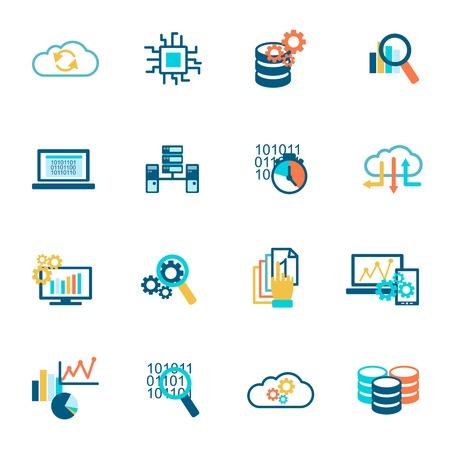 Ilustración de Database analytics information technology network management icons flat set isolated vector illustration - Imagen libre de derechos