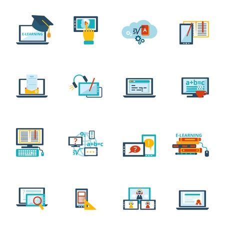 Illustration pour Online education e-learning video tutorial training flat icons set vector illustration - image libre de droit