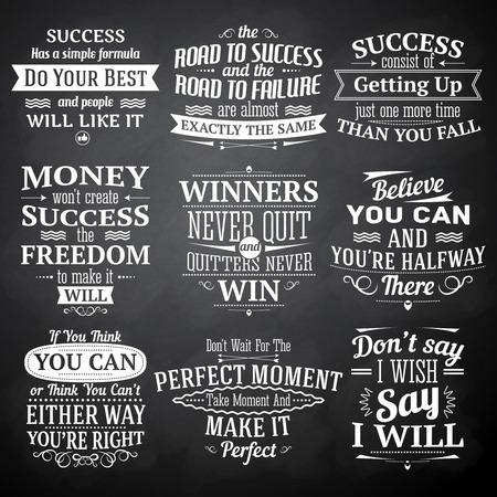 Illustration pour Success motivational and inspirational quotes chalkboard emblems set isolated vector illustration - image libre de droit