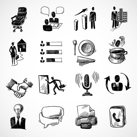 Illustration pour Office business sketch icons set with tea cup handshake chart isolated vector illustration - image libre de droit