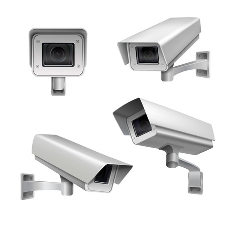 Illustration pour Surveillance camera safety home protection system decorative set isolated vector illustration - image libre de droit