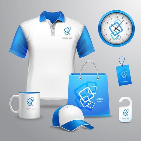 Foto de Corporate identity blue template decorative set with t-shirt clock cap vector illustration - Imagen libre de derechos