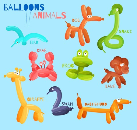 Photo for Balloon animals set with dog crab snake bird isolated vector illustration - Royalty Free Image