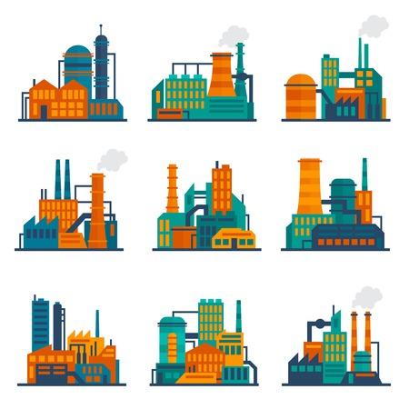 Illustration pour Industrial city construction building factories and plants flat icons set isolated vector illustration - image libre de droit