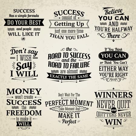 Illustration pour Success motivational and inspirational creative quotes emblems set isolated vector illustration - image libre de droit