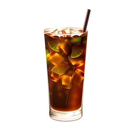 Illustration for Long island ice tea realistic cocktail in glass with drinking straw isolated on white background vector illustration - Royalty Free Image