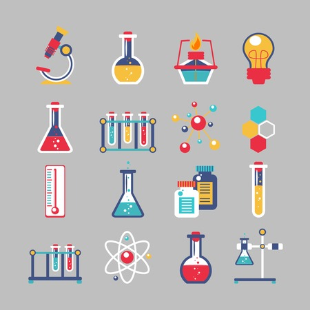 Illustration pour Chemistry decorative icons set with chemical lab scientific experiment equipment isolated vector illustration - image libre de droit