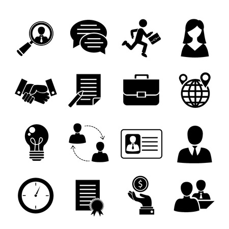 Illustration for Job interview black icons set with job search interview recruitment isolated vector illustration. - Royalty Free Image