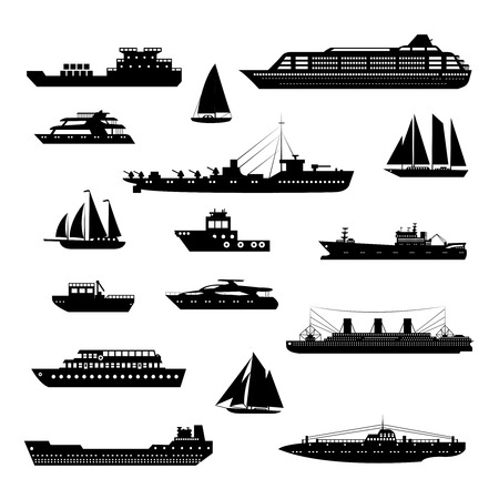 Illustration pour Ships and boats steamboat yacht and tanker freight industry decorative icons black and white set isolated vector illustration - image libre de droit