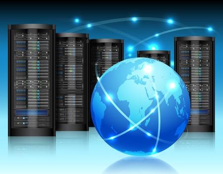 Illustration pour Global network concept with hardware computer server data center and globe vector illustration - image libre de droit