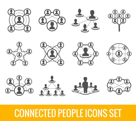 Illustration pour Connected people social network human hierarchy black icons set isolated vector illustration - image libre de droit