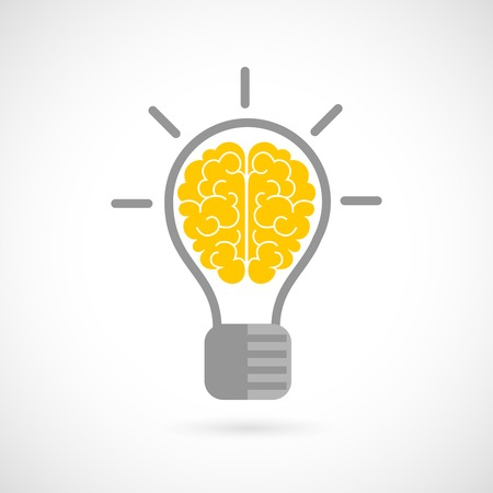 Illustration pour Human brain in lightbulb idea concept flat icon isolated on white background vector illustration - image libre de droit
