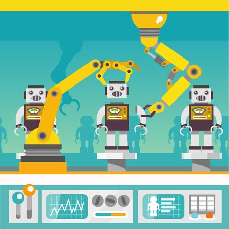 Ilustración de Robotic arm mechanic equipment assembling  robots on factory concept flat vector illustration - Imagen libre de derechos