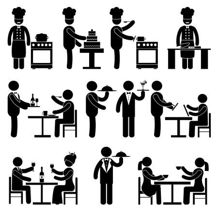 Illustration pour Restaurant employees and visitors black pictogram people set isolated vector illustration - image libre de droit
