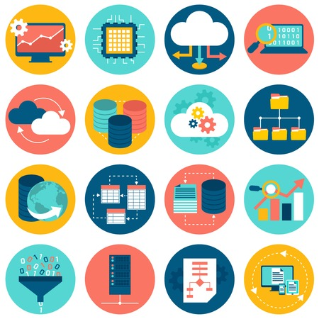 Illustration pour Data analysis database network technology settings icons flat set isolated vector illustration - image libre de droit
