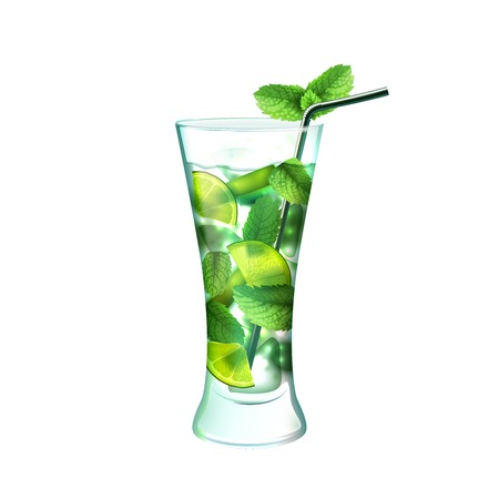 Ilustración de Mojito realistic cocktail in glass with lime mint and drinking straw isolated on white background vector illustration - Imagen libre de derechos