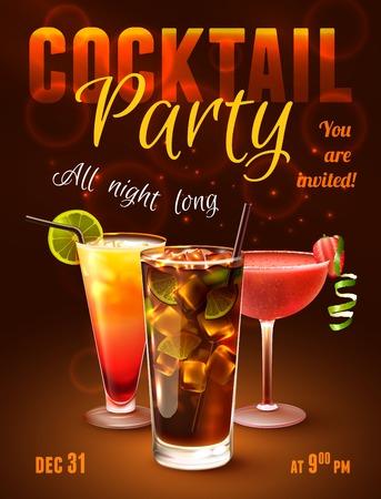 Ilustración de Cocktail party poster with alcohol drinks in glasses on dark background vector illustration. - Imagen libre de derechos
