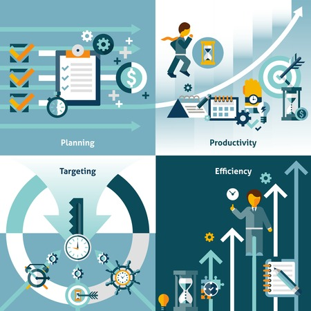 Illustration pour Time management flat icons with planning productivity targeting efficiency isolated vector illustration - image libre de droit