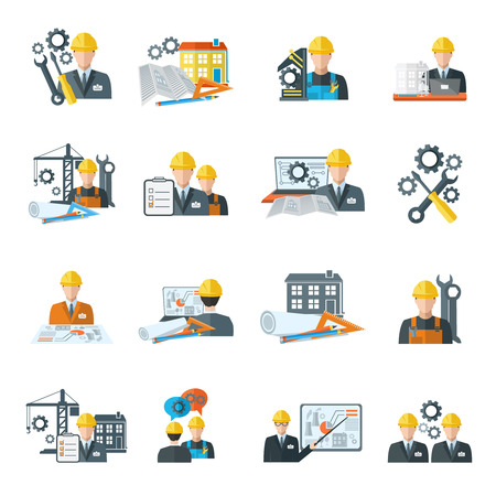 Illustration pour Engineer construction equipment machine operator managing and manufacturing icons flat set isolated vector illustration - image libre de droit