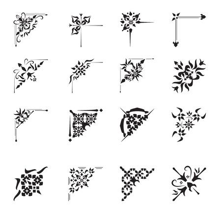 Illustration pour Vintage floral calligraphic floral vignette scroll corners ornamental design elements black set isolated vector illustration - image libre de droit