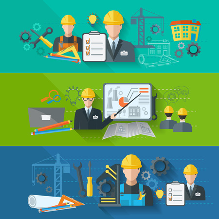 Illustration pour Engineer construction industrial factory manufacturing workers flat banner set isolated vector illustration - image libre de droit
