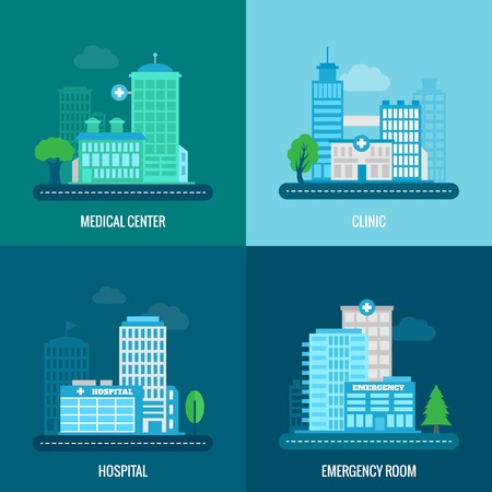 Illustration pour Medical building flat icons set with center clinic hospital emergency room isolated vector illustration - image libre de droit