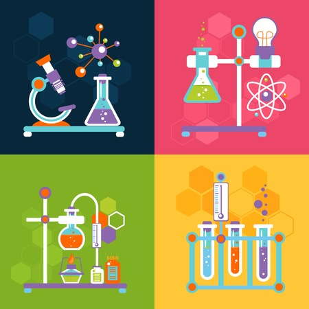 Illustration pour Chemistry decorative flat icons set with lab test and research equipment isolated vector illustration - image libre de droit