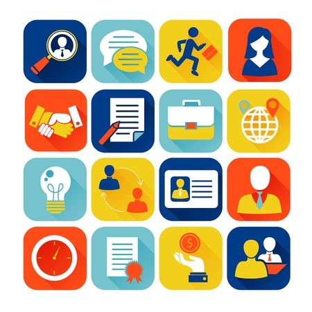 Illustration pour Job interview flat icons set with search recruitment worker isolated vector illustration - image libre de droit