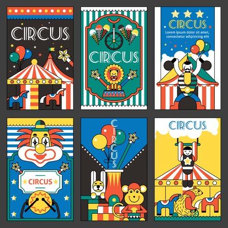 Illustration pour Circus entertainment fun park holiday retro posters set isolated vector illustration - image libre de droit
