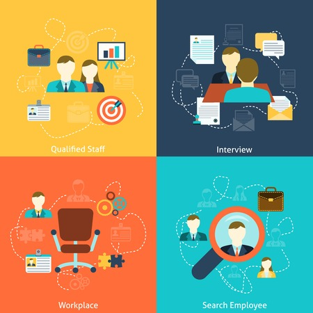 Illustration pour Human resources man woman personnel search selection and interviewing candidates four flat icons composition abstract vector illustration - image libre de droit