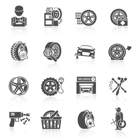 Foto per Tire wheel service car auto mechanic repair work icons black set isolated vector illustration - Immagine Royalty Free