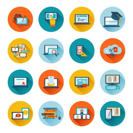 Ilustración de Online education e-learning university webinar student seminar graduation flat icons set vector illustration - Imagen libre de derechos