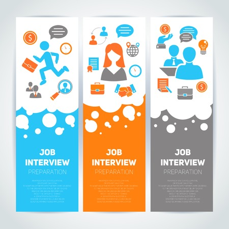 Illustration pour Job interview preparation flat banner vertical set with recruitment meeting cv search isolated vector illustration - image libre de droit
