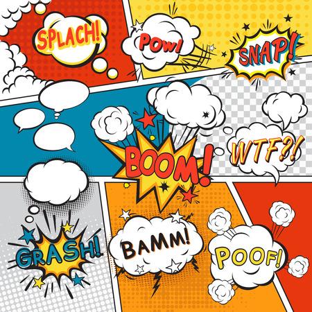 Illustration pour Comic speech bubbles in pop art style with splach powl snap boom poof text set vector illustration - image libre de droit