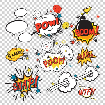 Illustration pour Comic speech bubbles in pop art style with bomb cartoon and explosion text vector illustration - image libre de droit