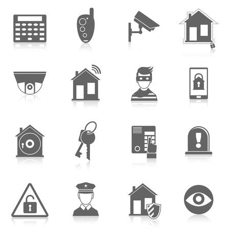 Illustration pour Home security burglar alarm system black icons set isolated vector illustration - image libre de droit