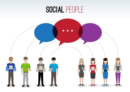 Adult pixel men and women avatars with mobile device speech bubbles people chat social network concept vector illustration
