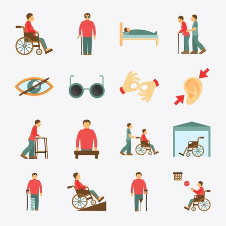 Illustration pour Disabled people care help assistance and accessibility flat icons set isolated vector illustration - image libre de droit