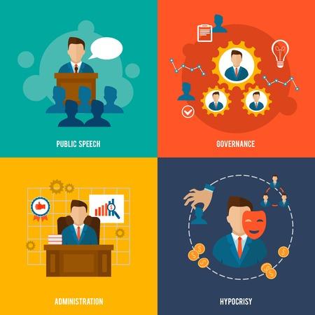 Ilustración de Executive flat icons set with public speech governance administration hypocrisy isolated vector illustration. - Imagen libre de derechos