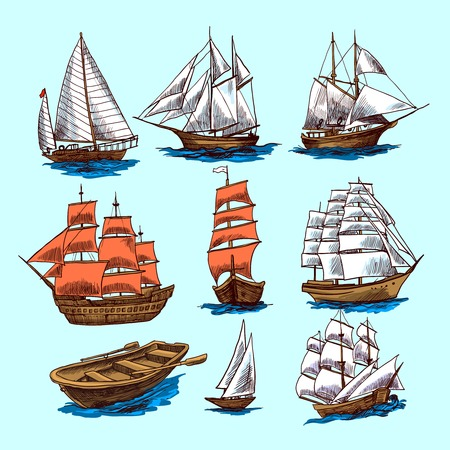 Illustration pour Sailing tall ships yachts and boat colored sketch decorative elements isolated vector illustration - image libre de droit